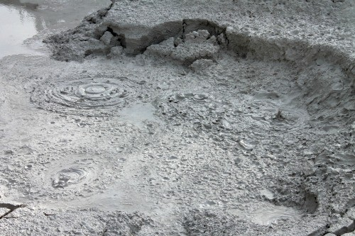 Mud pots in Yellowstone: Seen during week 19 of 22 week RV road trip.