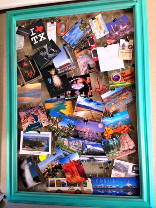 Memory board hung in a travel trailer: Highlights of a road trip.
