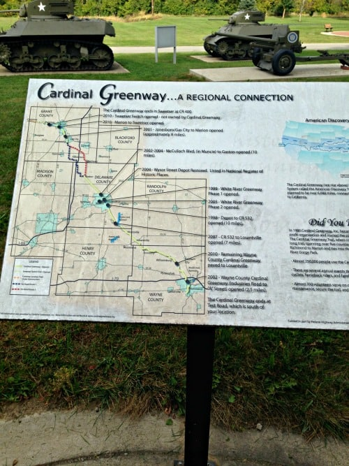 The southern end of the Cardinal Greenway is in Richmond, Indiana.