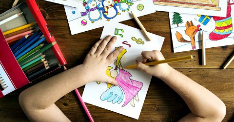 have a family coloring night--one of 25 snow day activities