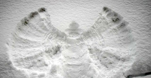 make a snow angel--one of 25 snow day activities
