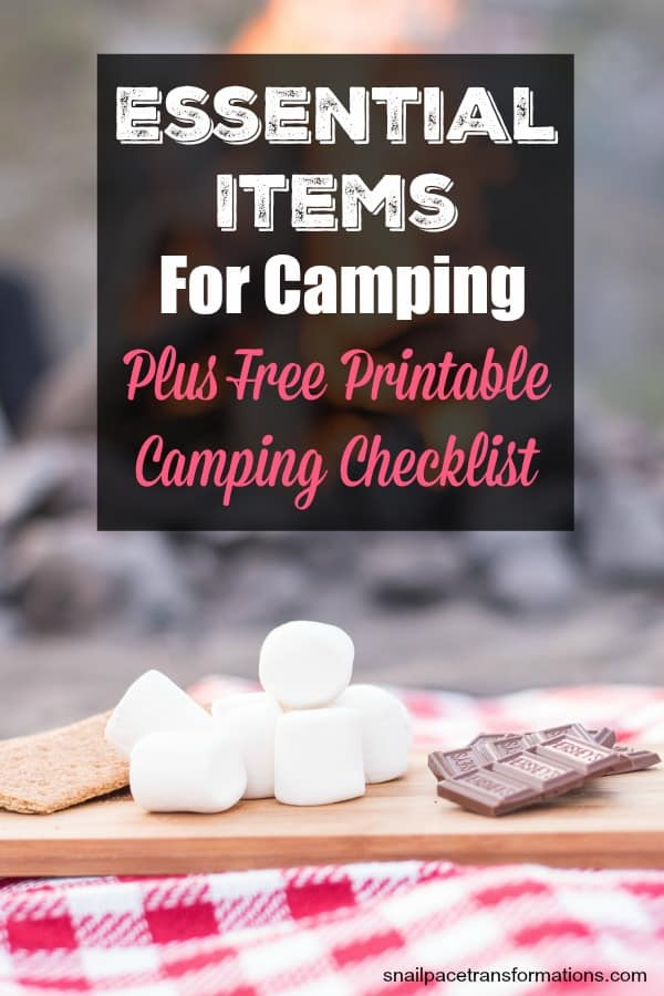 essential items for camping plus free printable camping checklist