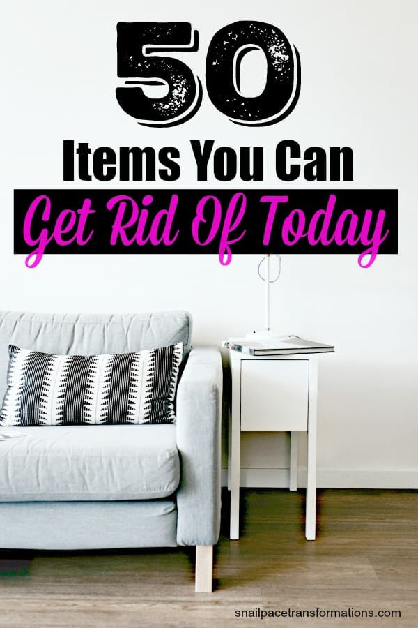 Jump-start your decluttering with this list of 50 items you can toss today. #declutter #organize