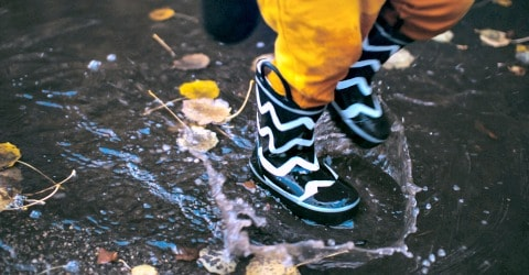 Jump in the puddles on a rainy day--one of 25 rainy day activities