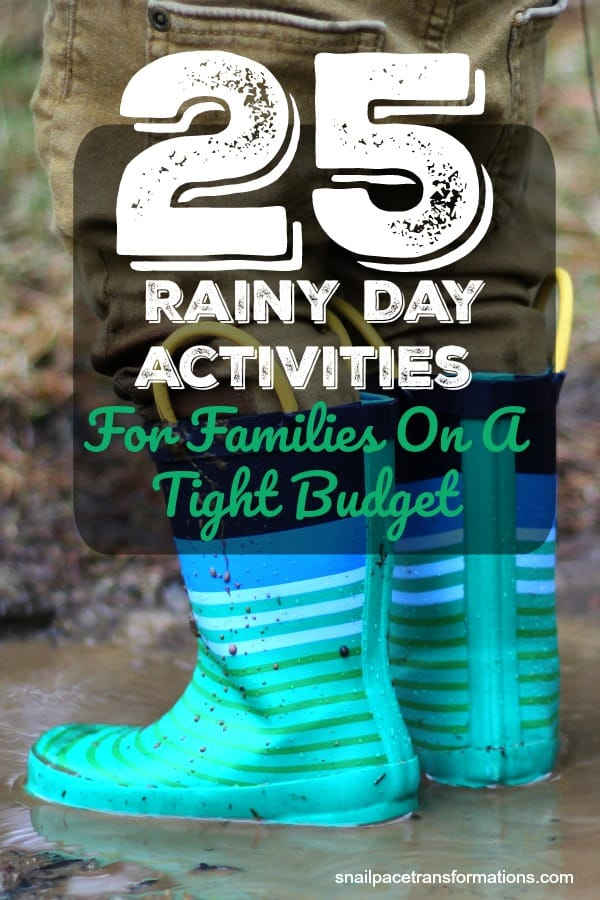 A list of rainy day activities for families that will work for even the tightest of budgets. #rainyday #kidsactivities #thrifty #frugal