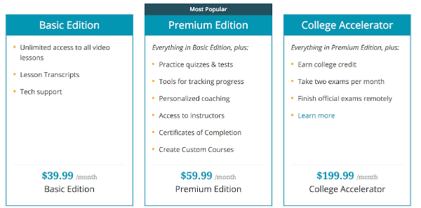 Screenshot from Study.com showing their three levels of membership.