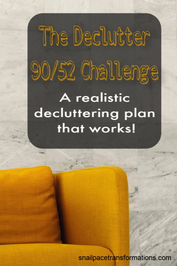 Stop trying to fix your clutter problem fast and fix it for good with the 90/52 decluttering challenge. #clutterfree #declutter #clutter #cluttertips #cluttercontrol #cluttersolutions