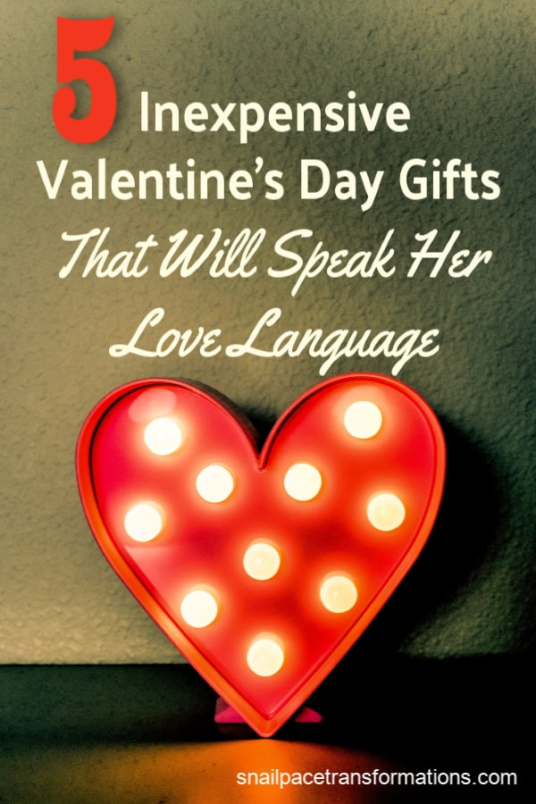 Speak her love language with these 5 inexpensive Valentine's Day gift ideas. One gift idea for each of the 5 love languages. #valentines #valentinesday #giftideas