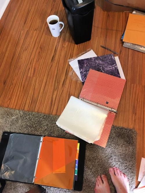 Decluttering paperwork.
