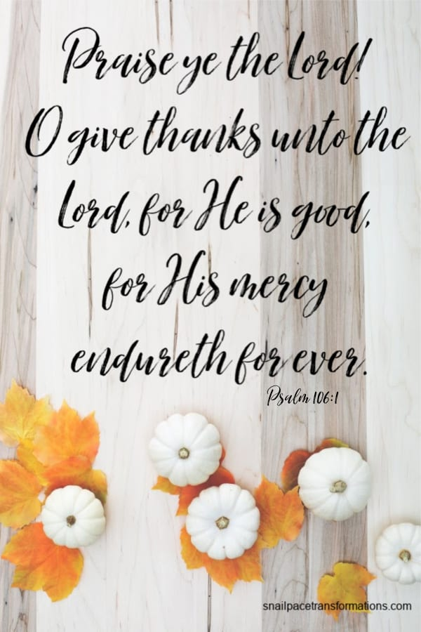 Psalm 106:1 (21st Century King James Version) Praise ye the Lord! O give thanks unto the Lord, for He is good, for His mercy endureth for ever.