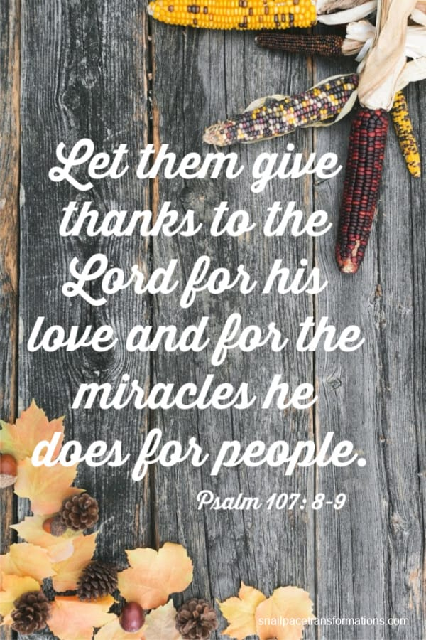 Psalm 107: 8-9 (International Children's Bible) Let them give thanks to the Lord for his love and for the miracles he does for people.
